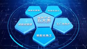【5块无插件】三维科技蓝色五大分类AE模板