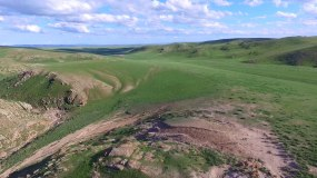 航拍草原山地丘陵地貌视频素材