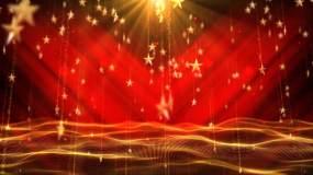 红色大气五角星粒子红绸背景视频素材
