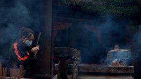 【4K】寺庙烧香祈福上香许愿,多镜头呈现视频素材