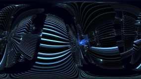 360VR4K蓝色科技隧道魔幻素材视频素材