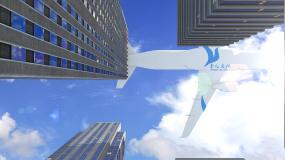 大楼飞机飞过带LOGOAE模板