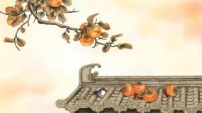柿子小鸟诗意图视频素材