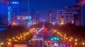 2020年5月夜幕下的陕西西安解放路延时视频素材