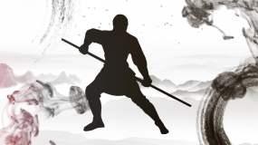 少林棍子武术表演舞台背景视频素材