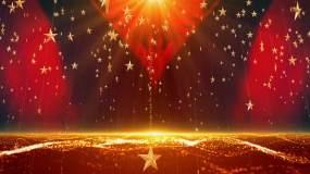 大气红绸粒子五角星党建舞台背景视频素材