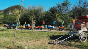 斐俪山谷郊区家庭亲子游旋转木马视频素材