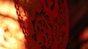 平遥古城古建筑窗花红灯笼2视频素材