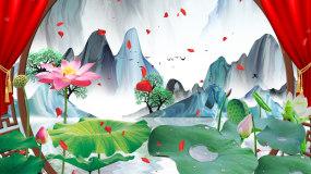 喜庆中国风荷花水墨山水风景LED背景视频视频素材