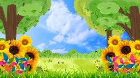 绿色清新大自然春暖花开儿童演出背景视频视频素材