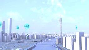 4K三维城市广州建筑模型真实地形建筑地图AE模板