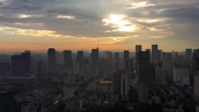 4K成都市宣传片素材清晨日出光辉绝美奇观视频素材