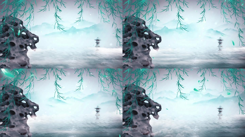 水墨中国风-西湖led舞台背景