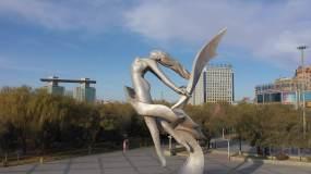 飞天乐舞雕塑视频素材