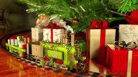 圣诞节平安夜火车礼物圣诞树舞台演出背景视频素材