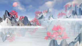 蓝色天空水墨中国风山水意境LED背景视频视频素材