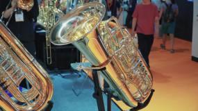 北京乐器展萨克斯鼓打击乐器表演视频素材