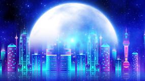 浪漫星空上海城市走屏LED舞台背景视频视频素材