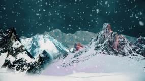 唯美雪山下雪飘雪视频素材