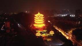 4k航拍武汉江城黄鹤楼夜景灯光秀视频素材