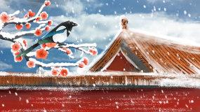 唯美浪漫故宫雪景LED背景视频视频素材