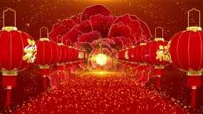 4K喜庆红灯笼舞台开场背景循环视频素材