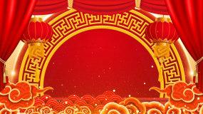 红色喜庆元旦春节联欢晚会舞台背景视频视频素材