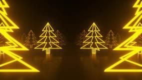 金色抽象森林穿梭视频素材