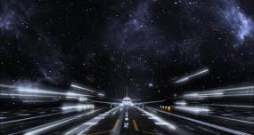 三维梦幻星空机场跑道飞机起飞视频素材