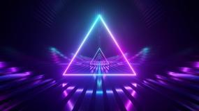 三角紫色炫彩隧道穿梭视频素材