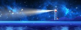 梦幻星空粒子海面灯塔夜景背景视频素材