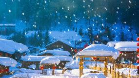 浪漫雪乡雪景下雪LED背景视频视频素材
