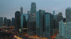 高清现代高楼城市傍晚视频素材