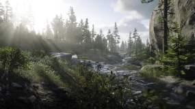 河流山脉阳光早晨光影视频素材