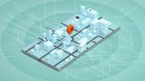 手机上的3D城市与定位标记3D渲染视频素材