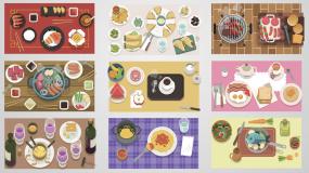 【食品图形动画大合集】mg扁平化动画素材AE模板