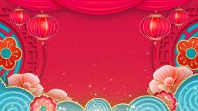 中国风红色喜庆中式舞台背景led视频视频素材