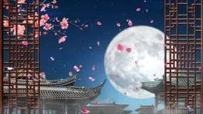 4K城楼明月古典背景循环视频素材