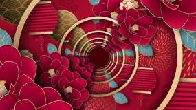 4K中国风喜庆春节新年大红背景视频素材