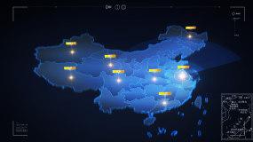 江苏南京科技中国地图地球穿梭发射覆盖光线AE模板