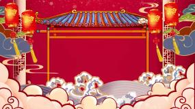 新年喜庆红灯笼祥云春节晚会舞台背景视频素材