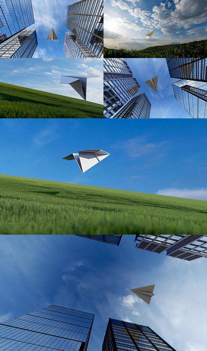 纸飞机飞过楼顶草地希望梦想未来青春