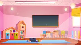 幼儿园游戏教室动画循环背景视频素材