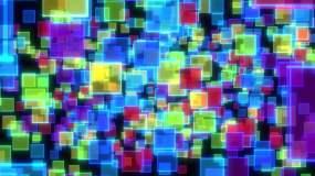 绚丽彩色粒子方块空间穿梭视频视频素材