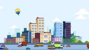 卡通城市建筑道路交通循环MG动画视频素材