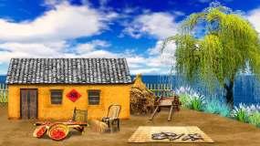农家渔村瓦房篱笆循环背景视频素材