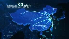 4K中国全球地图辐射-上海AE模板