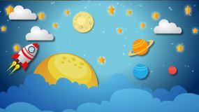太空飞船飞行循环MG动画背景视频素材