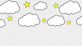 卡通五星白云前景视频素材视频素材包
