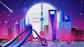 唯美星空流星上海城市LED背景视频视频素材